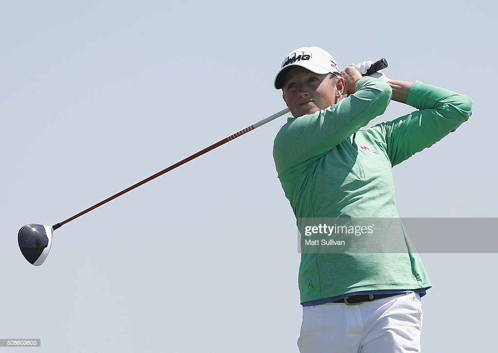 Stacy Lewis watches her tee shot on the ninth hole during the second round of the Yokohama Tire Classic on May 06, 2016 in Prattville, Alabama.