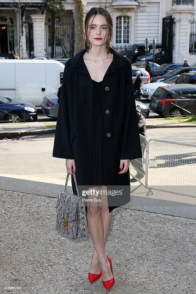 Stacy Martin arrives at the Miu Miu show as part of the Paris Fashion Week Womenswear Fall/Winter 2014-2015 on March 5, 2014 in Paris, France.