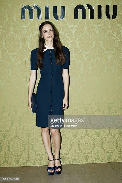 Stacy Martin attends the Miu Miu Resort Collection 2015 at Palais d'Iena on July 5 2014 in Paris France