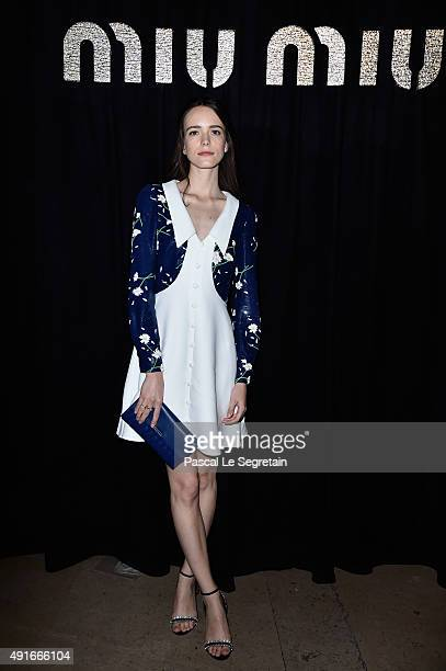Stacy Martin attends the Miu Miu show as part of the Paris Fashion Week Womenswear Spring/Summer 2016 on October 7 2015 in Paris France