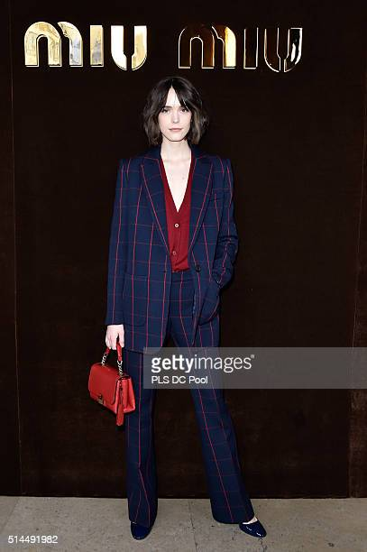 Stacy Martin attends the Miu Miu show as part of the Paris Fashion Week Womenswear Fall / Winter 2016 on March 9 2016 in Paris France