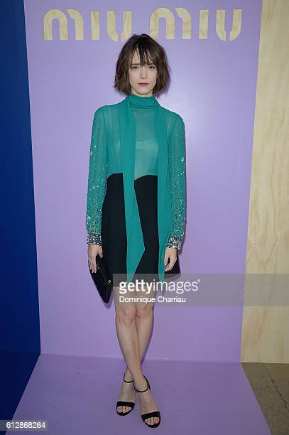 Stacy Martin attends the Miu Miu show as part of the Paris Fashion Week Womenswear Spring/Summer 2017 on October 5 2016 in Paris France