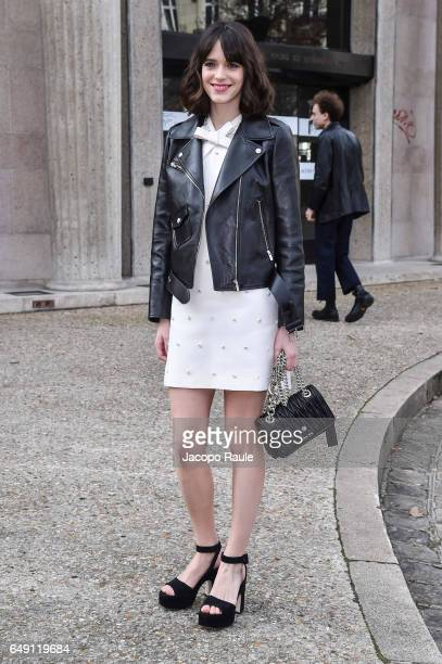 Stacy Martin is seen arriving at Miu Miu fashion show during the Paris Fashion Week Womenswear Fall/Winter 2017/2018 on March 7 2017 in Paris France