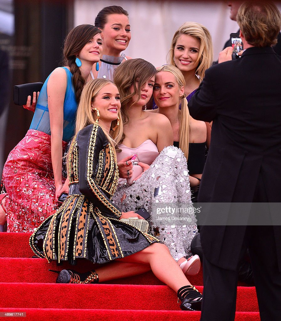 Stacy Martin, Margot Robbie, Rosie Huntington-Whiteley, Adele Exarchopoulos, guest and Dianna Agron attend the 'Charles James: Beyond Fashion' Costume Institute Gala at the Metropolitan Museum of Art on May 5, 2014 in New York City.