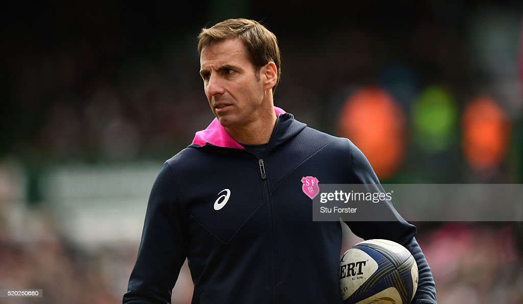 Stade coach <a gi-track='captionPersonalityLinkClicked' href=/galleries/search?phrase=Gonzalo+Quesada&family=editorial&specificpeople=685928 ng-click='$event.stopPropagation()'>Gonzalo Quesada</a> looks on before the European Rugby Champions Cup Quarter Final match between Leicester Tigers and Stade Francais Paris at Welford Road on April 10, 2016 in Leicester, England.