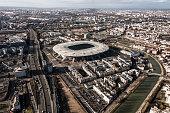 Stade de France aerial view and Saint Denis area suburb of Paris