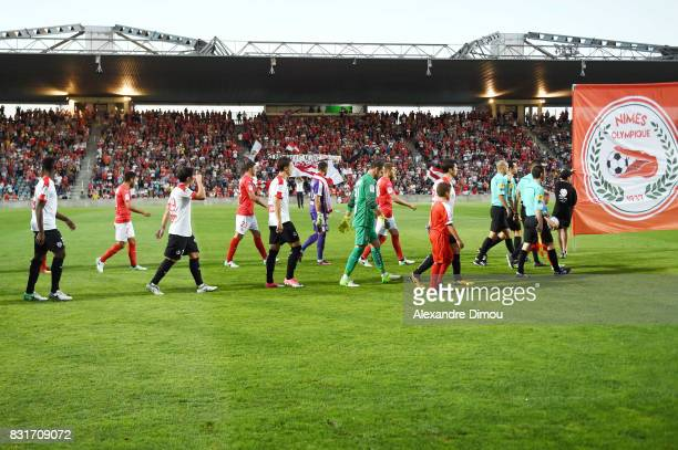 Stade des Costieres of Nimes during the Ligue 2 match between Nimes Olympique and As Nancy Lorraine at Stade des Costieres on August 14 2017 in Nimes