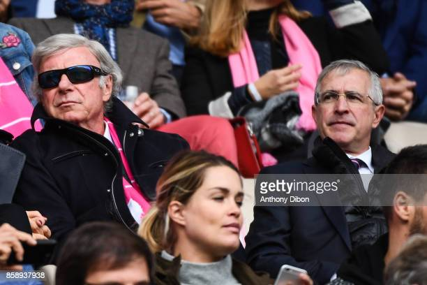 Stade Francais Paris owner Hans Peter Wild and Stade Francais Paris president Hubert Patricot during the Top 14 match between Stade Francais and...