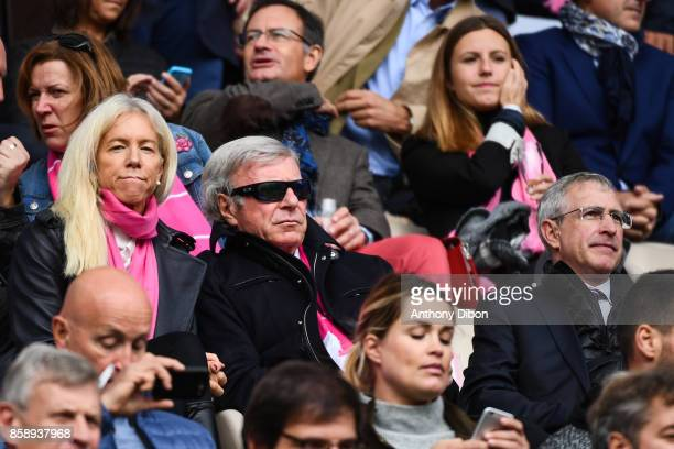 Stade Francais Paris owner Hans Peter Wild with his wife and Stade Francais Paris president Hubert Patricot during the Top 14 match between Stade...