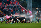 Stade Francais Paris's French scrumhalf Julien Dupuy prepares to place the ball in the scrum during the European Rugby Champions Cup rugby union pool...