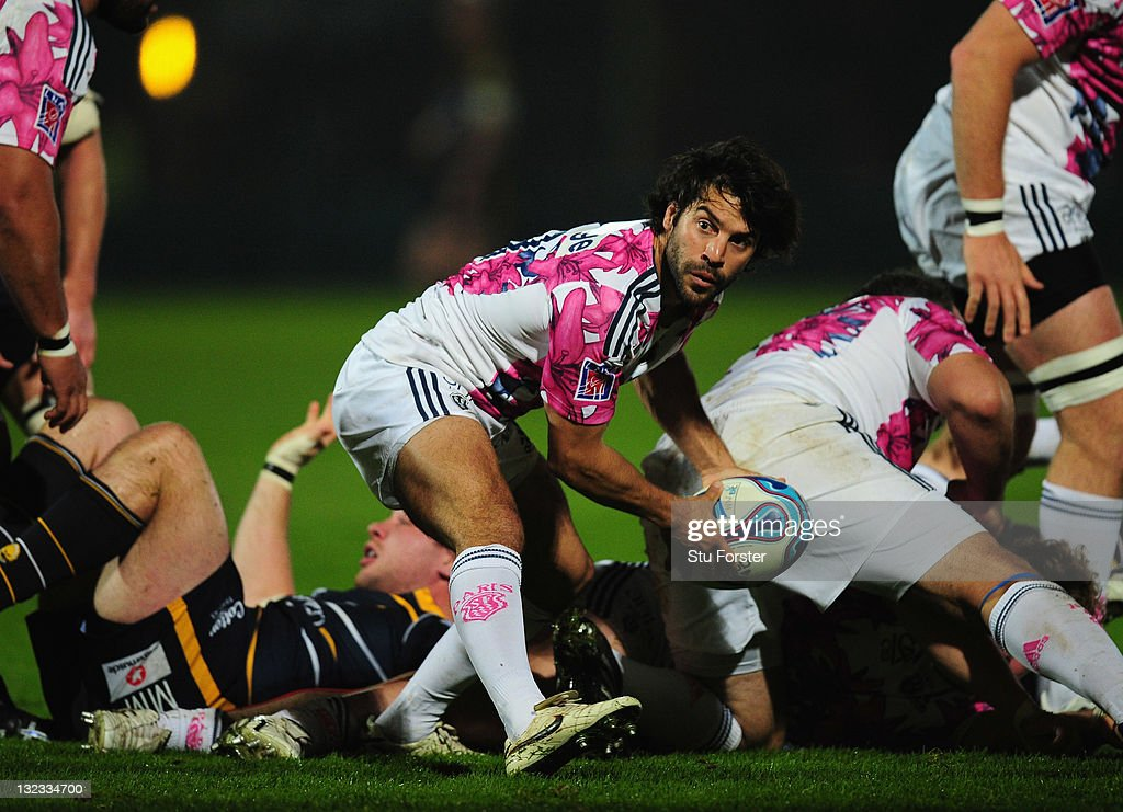 Stade Francais player <a gi-track='captionPersonalityLinkClicked' href=/galleries/search?phrase=Jerome+Fillol&family=editorial&specificpeople=698636 ng-click='$event.stopPropagation()'>Jerome Fillol</a> in action during the Amlin Challenge Cup match between Worcester Warriors and Stade Francais at Sixways Stadium on November 10, 2011 in Worcester, England.