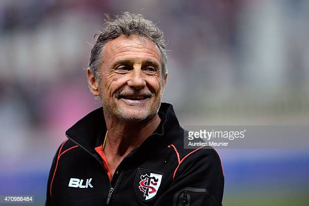 Stade Toulousain Head Coach Guy Noves reacts prior to the Top 14 game between Stade Francais and Stade Toulousain at Stade Jean Bouin on April 24...