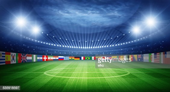 Stadium and nations teams flags : Stock Photo