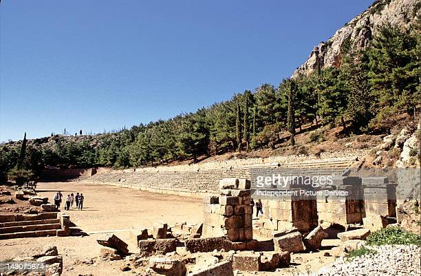 Stadium at the ruins of the Delphi Sanctuary Greece
