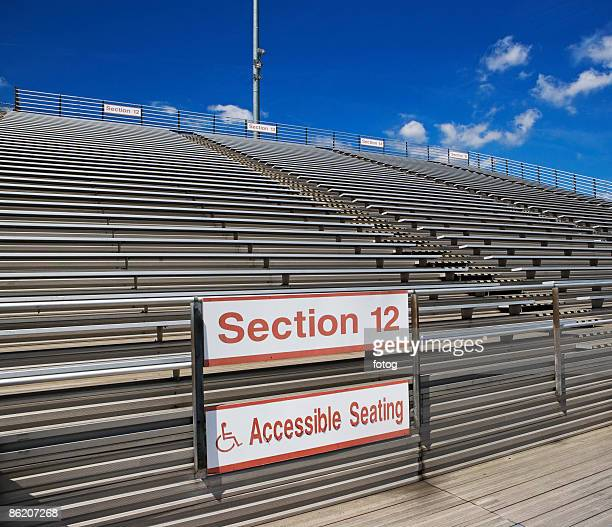 Stadium bleachers with wheelchair accessible seating
