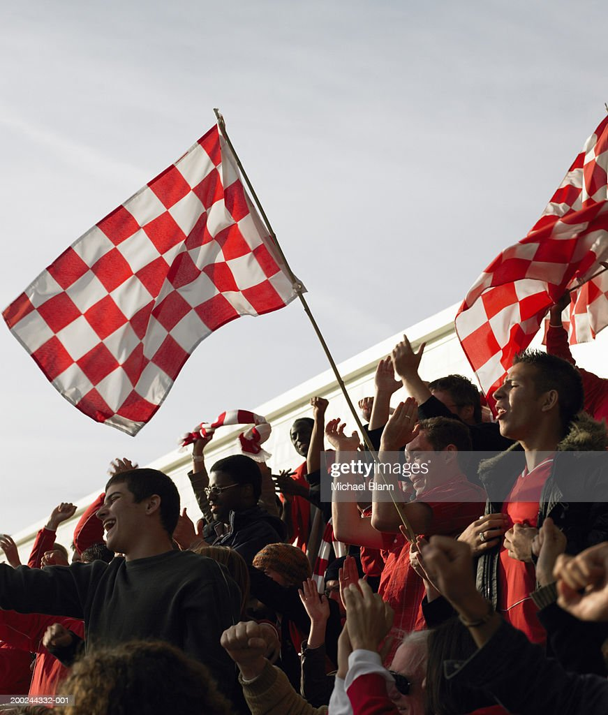 Stadium crowd, cheering and waving flags, low angle view