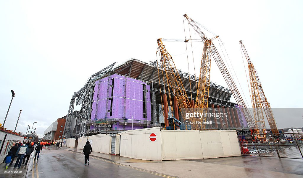 Stadium expansion site is seen prior to the Barclays Premier League match between Liverpool and Sunderland at Anfield on February 6, 2016 in Liverpool, England.