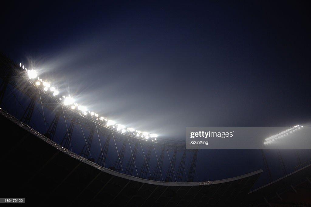 Stadium floodlights at night time, Beijing, China : Stock Photo