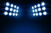 Stadium lights with glare. Copy space for text or graphic.