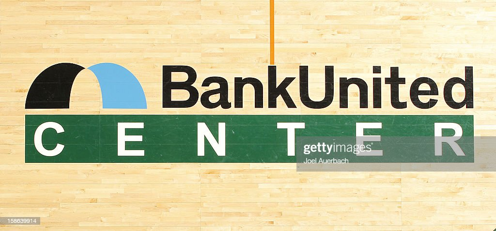 Stadium logo on the wooden court prior to the game between the Miami Hurricanes and the North Carolina State Wolfpack on December 20, 2012 at the BankUnited Center in Coral Gables, Florida. The Hurricanes defeated the Wolfpack 79-53.