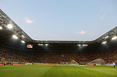 Stadium overview during the Third League match between SG Dynamo Dresden and FC RotWeiss Erfurt at GlücksgasStadion on August 13 2015 in Dresden...