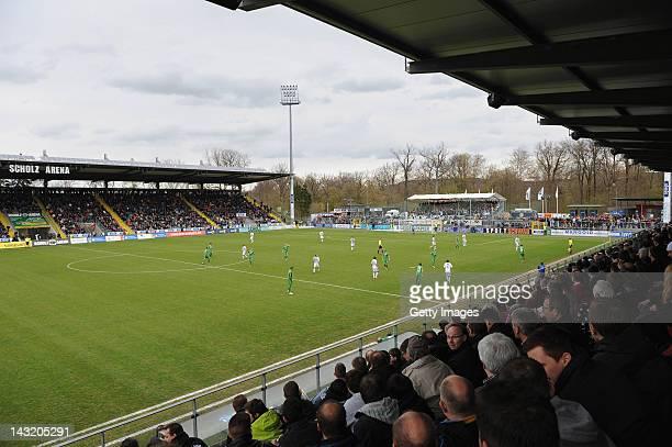 Stadium overview of Aalen during the Third League match between VfR Aalen and Werder Bremen II on April 21 2012 in Aalen Germany