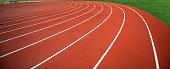 Stadium red plastic track
