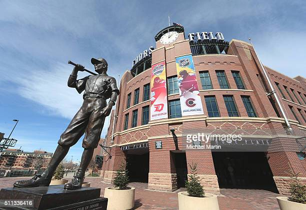 Stadium Series banners hang from the front of Coors Field as part of the 2016 Coors Light NHL Stadium Series at Coors Field on February 19 2016 in...