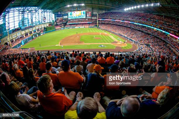 Stadium shot of the field and fans in the eighth inning during game one of American Division League Series between the Houston Astros and the Boston...