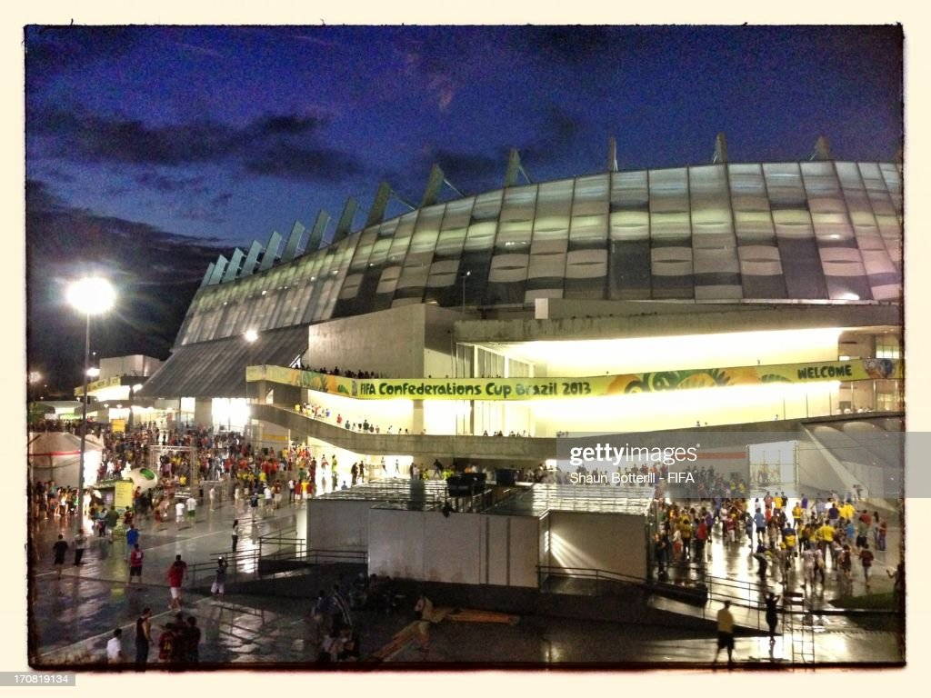 Stadium view prior to the FIFA Confederations Cup Brazil 2013 Group B match between Spain and Uruguay at the Arena Pernambuco on June 16, 2013 in Recife, Brazil.