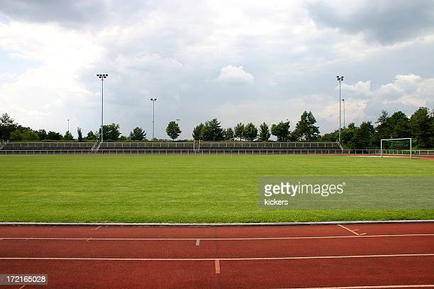 Stadium with running track around outside