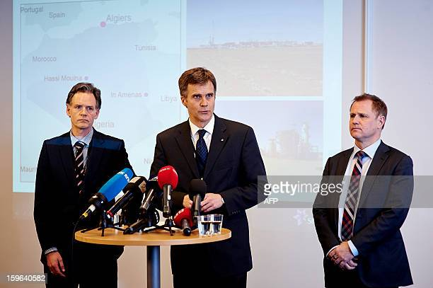 Stadoil's Director Of Foreign Affairs Lars Christian Bacher Ceo Statoil Helge Lund and Leader Of Secretariat Bjoern Otto Sverdrup address a press...