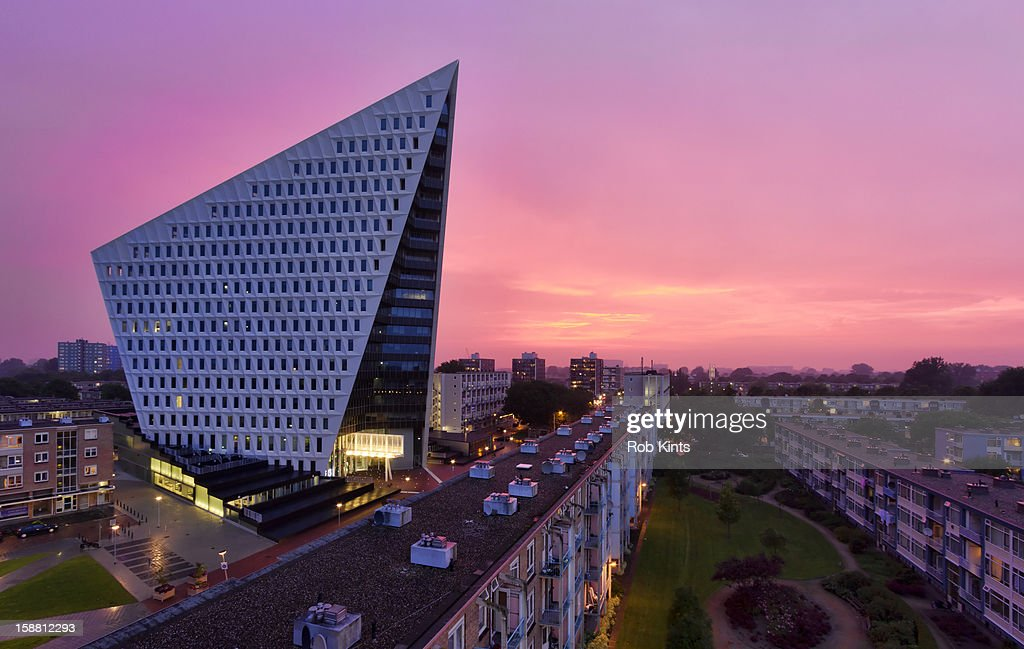 Stadskantoor The Hague at sunset : Stock Photo