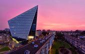 Stadskantoor The Hague at sunset
