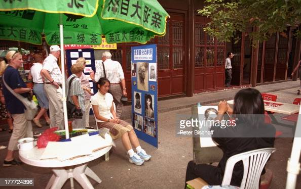 Stadt Wuhan Provinz Hubei China Asien Reise Rundreise Passage zeichnen Potrait Maler Künstler Bild Zeichnung