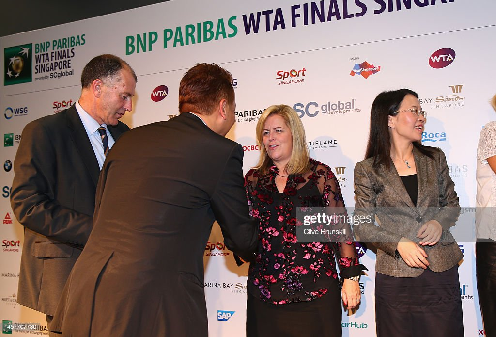 Staecy Allaster WTA CEO and Chairman at the press conference for the WTA Elite Trophy in Zhuhai starting 2015 during the BNP Paribas WTA Finals at...