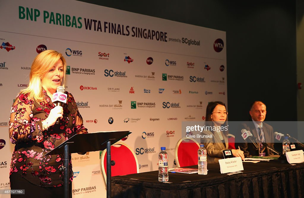 Staecy Allaster WTA CEO and Chairman makes a speach as Peter JohnstonTournament DirectorZhuhai and Lydia Long Vice Mayor of Zhuhai listen at the...
