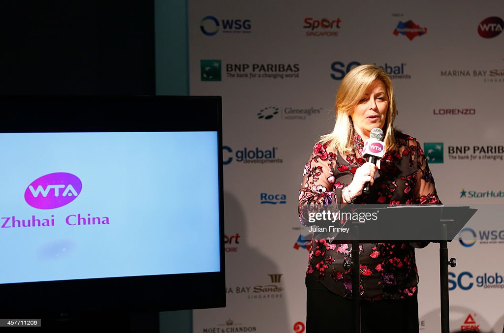 Staecy Allaster WTA CEO and Chairman makes a speach at the press conference for the WTA Elite Trophy in Zhuhai starting 2015 during day four of the...