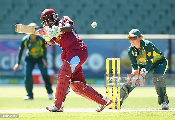 Stafanie Taylor bats during game three of the International Women's Twenty20 match between Australia and the West Indies at Melbourne Cricket Ground...
