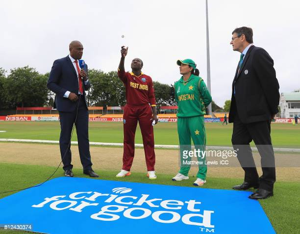 Stafanie Taylor Captain of the West Indies and Sana Mir Captain of Pakistan pictured during the coin toss ahead of the ICC Women's World Cup 2017...