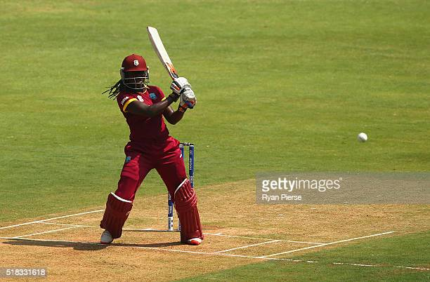 Stafanie Taylor Captain of the West Indies bats during the Women's ICC World Twenty20 India 2016 Semi Final match between West Indies and New Zealand...
