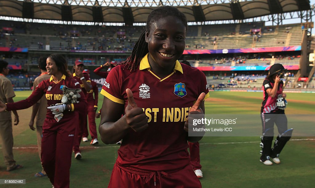 <a gi-track='captionPersonalityLinkClicked' href=/galleries/search?phrase=Stafanie+Taylor&family=editorial&specificpeople=5747707 ng-click='$event.stopPropagation()'>Stafanie Taylor</a>, Captain of the West Indies celebrates her teams win during the Women's ICC World Twenty20 India 2016 Semi Final match between New Zealand and West Indies at the Wankhede Stadium on March 31, 2016 in Mumbai, India.