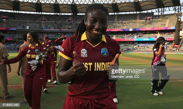 Stafanie Taylor Captain of the West Indies celebrates her teams win during the Women's ICC World Twenty20 India 2016 Semi Final match between New...