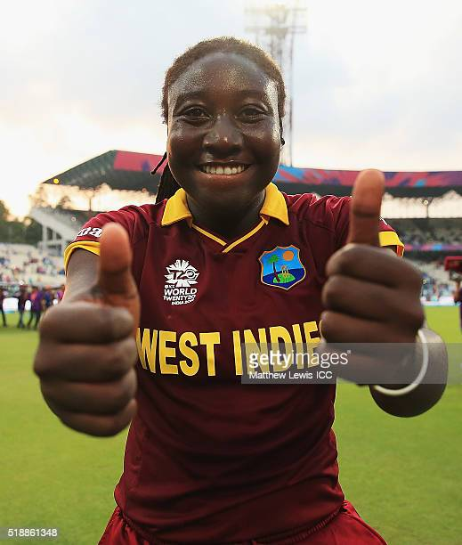 Stafanie Taylor Captain of the West Indies celebrates her teams win during the Women's ICC World Twenty20 India 2016 Final between Australia and West...