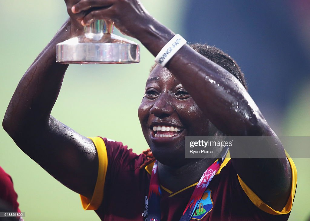 <a gi-track='captionPersonalityLinkClicked' href=/galleries/search?phrase=Stafanie+Taylor&family=editorial&specificpeople=5747707 ng-click='$event.stopPropagation()'>Stafanie Taylor</a>, Captain of the West Indies celebrates with the trophy during the Women's ICC World Twenty20 India 2016 Final match between Australia and West Indies at Eden Gardens on April 3, 2016 in Kolkata, India.