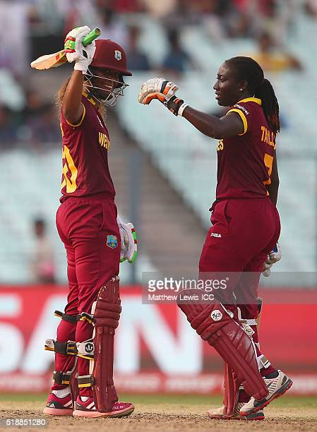 Stafanie Taylor Captain of the West Indies congratulates Hayley Matthews of the West Indies on her half century during the Women's ICC World Twenty20...