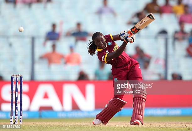Stafanie Taylor Captain of the West Indies hits out during the Women's ICC World Twenty20 India 2016 final match between Australia and West Indies at...