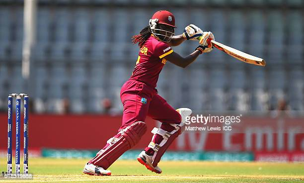 Stafanie Taylor Captain of the West Indies hits the ball towards the boundary during the Women's ICC World Twenty20 India 2016 Semi Final match...