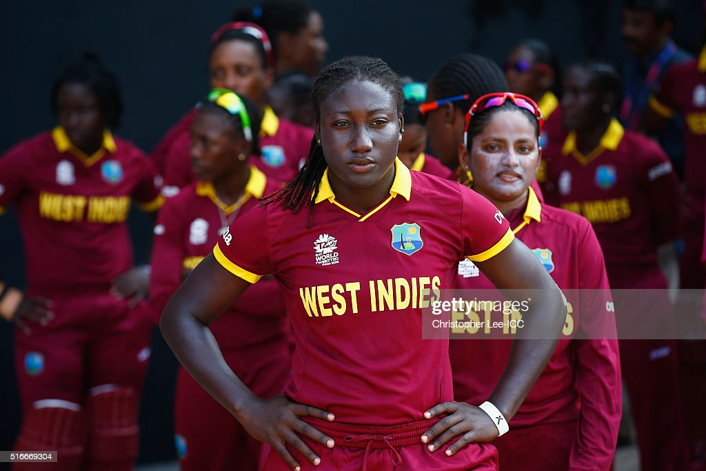 <a gi-track='captionPersonalityLinkClicked' href=/galleries/search?phrase=Stafanie+Taylor&family=editorial&specificpeople=5747707 ng-click='$event.stopPropagation()'>Stafanie Taylor</a>, Captain of the West Indies looks focus as she lines up with her team mates before taking the field during the Women's ICC World Twenty20 India 2016 Group B match between West Indies and Bangladesh at the Chidambaram Stadium on March 20, 2016 in Chennai, India.