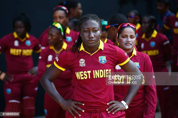 Stafanie Taylor Captain of the West Indies looks focus as she lines up with her team mates before taking the field during the Women's ICC World...